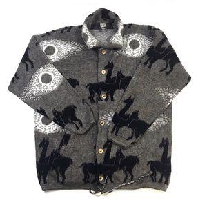 Tejidos Atahualpa Gray Wool Alpaca Print Sweater